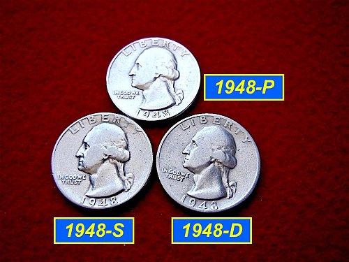 1948-PDS Washington Quarters ⭕️ Circulated    (#2335)