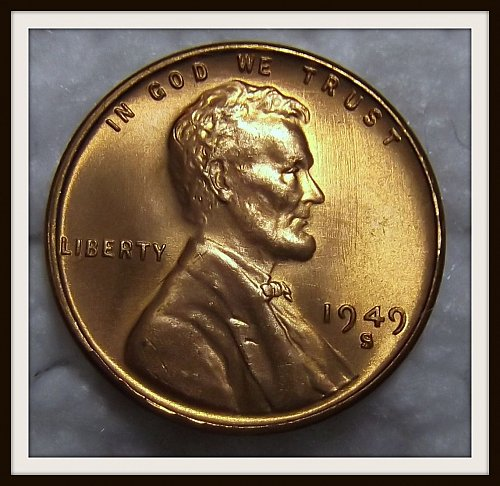 Red 1949-S Lincoln Wheat Cent (BU)