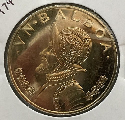 1974 Panama Balboa .900 Silver - Proof - Gold Toning