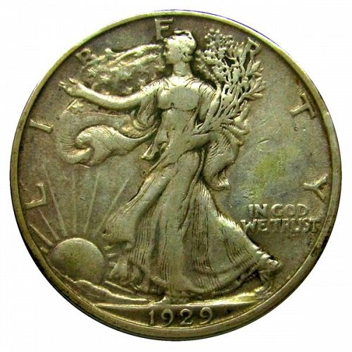 1929 D Walking Liberty Half Dollar - XF
