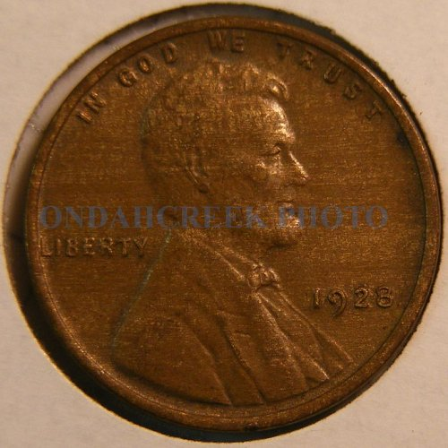 1928 Lincoln Cent Choice AU Woody