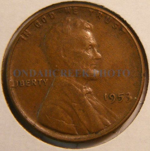 1953 Lincoln Cent Fine Interior Die Break Error