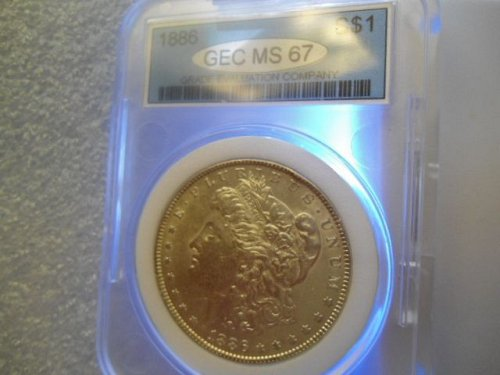 1886  Morgan Silver Dollar MS 67.   Nice Gift, Holdered, Uncirculated, Old Silve