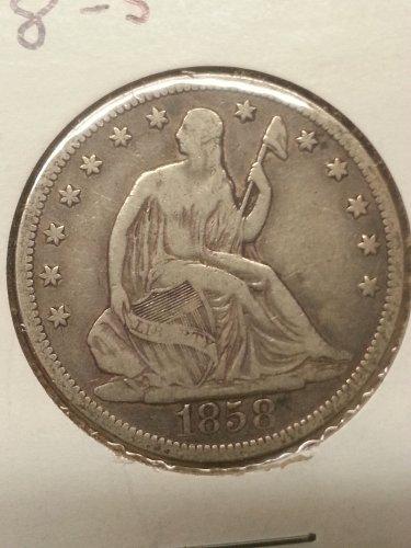 1858-S Seated Liberty Half