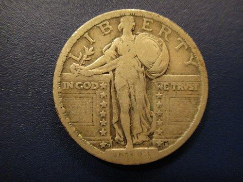 1918-D Standing Liberty Quarter Fine-12 Nice Light OIive Grey Patina!