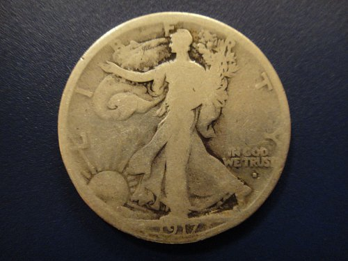 1917-S Obverse Walking Liberty Half Dollar Good-4 Decent Example For Grade.