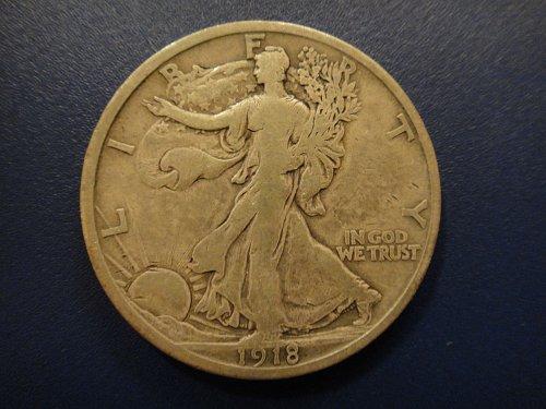 1918-S Walking Liberty Half Dollar Very Fine-20 Nice Medium Olive Grey Patina!