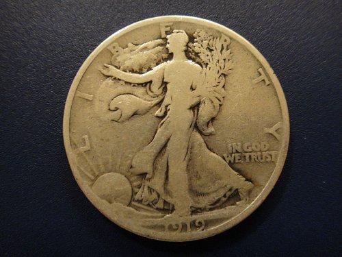 1919 Walking Liberty Half Dollar Very Good-8- Nice Obverse For Grade . . .
