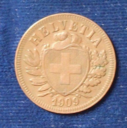 1909 Switzerland 2 Rappen VF