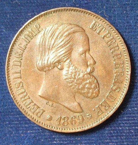 1869 Brazil 20 Reis AU