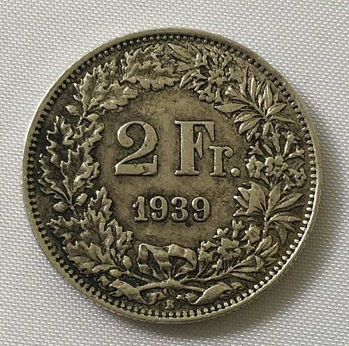 SWITZERLAND 1939 B  2 FRANCS SILVER