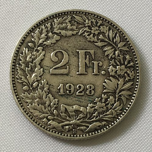 SWITZERLAND 1928 B  2 FRANCS SILVER