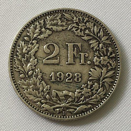 SWITZERLAND 1928 B  2 FRANCS SILVER