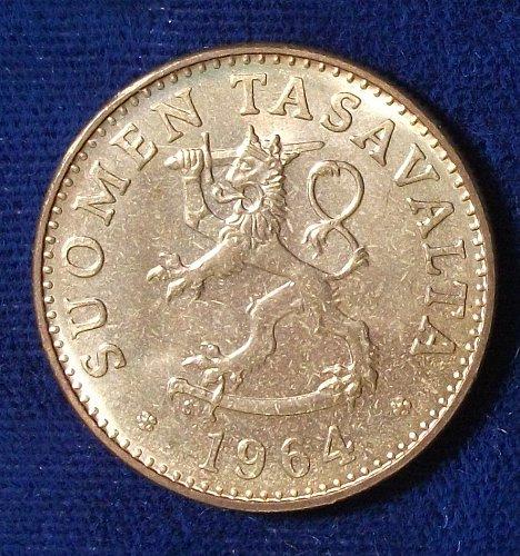 1964 Finland 50 Pennia AU+