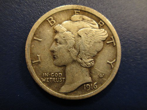 1916-S Mercury Dime Extra Fine-40 Decent With Sharp Feather Definition!