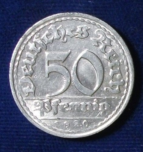 1920D Germany/Weimar Republic 50 Pfennig AU
