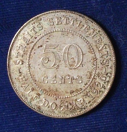 1920 Straits Settlements Half Dollar AU