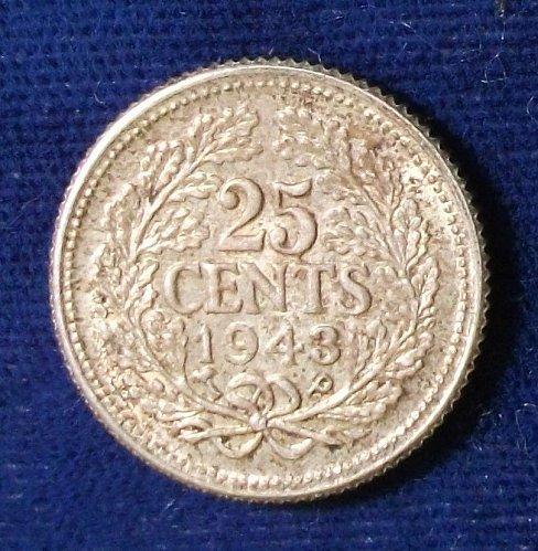 1943P Curacao 25 Cents AU