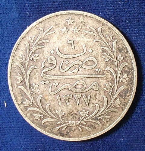 AH1327 Accession Year 6H (About 1915) Egypt 10 Qirsh Fine