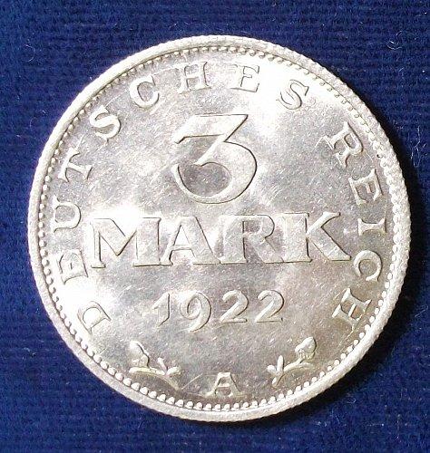 1922A Germany/Weimar Republic 3 Mark UNC