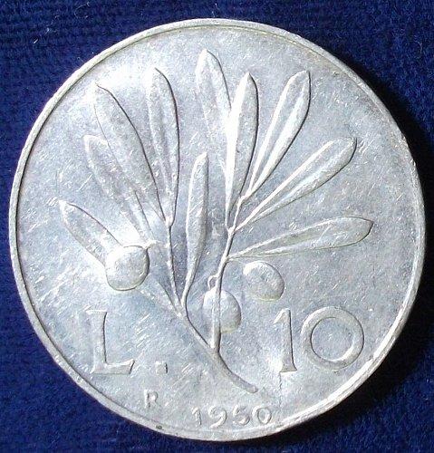 1950 Italy 10 Lire AU+