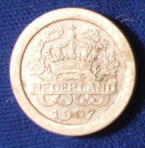 1907 Netherlands 5 Cents AU