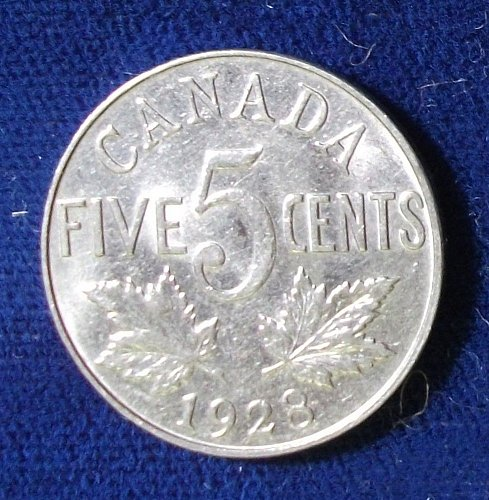 1928 Canada 5 Cents XF+