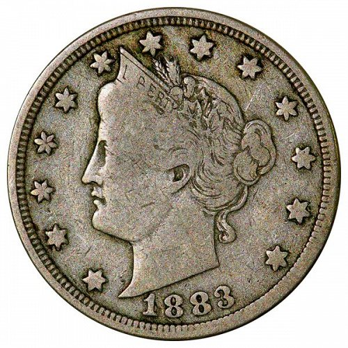 1883 Liberty Head V Nickel - With Cent - Fine