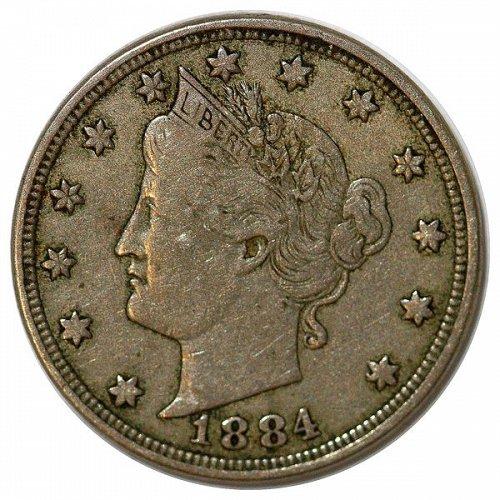 1884 Liberty Head V Nickel - VF
