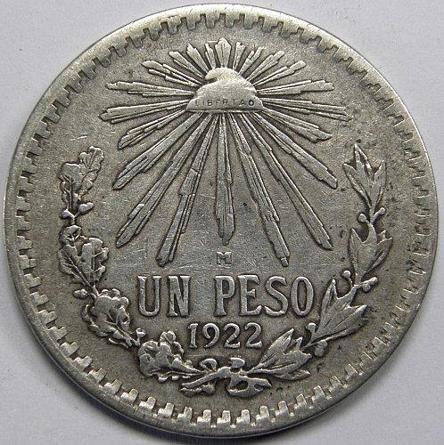 1922 Mexico Peso 72% Silver  ASW: 0.3856oz