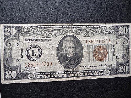 Hawaiian overprint 1934A   $20. Bill