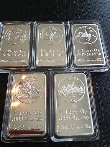 5-silver bars .999 silver.2012..your choice one or all(this price is for one)