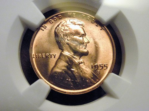 1955-S  Lincoln Cent - NGC MS66RD
