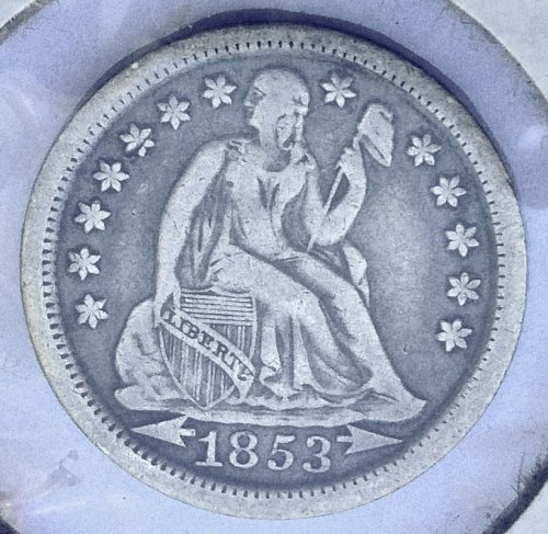 1853 Seated Liberty Dime - Type 3 - Arrows at Date - AU - Almost Uncirculated