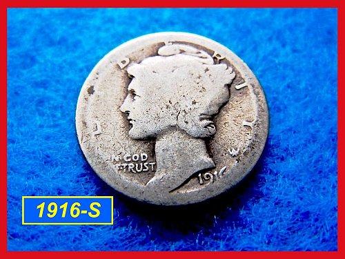 1916-S    Mercury Dime   🎯   (#3126)