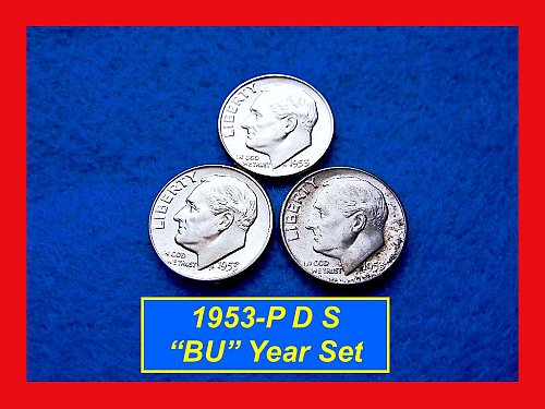 1953 Year-Set • Roosevelt Silver Dimes  • #3229