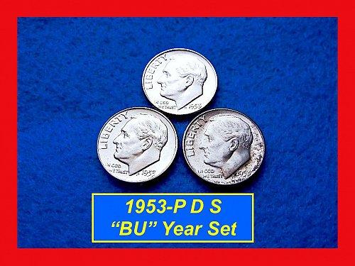 1953 Year-Set • Roosevelt Silver Dimes  •#3229