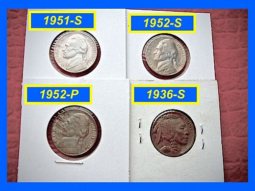 Lot of 4 Nickels 1951-S, 1952-S, 195P, & 1936-S  (#6031)