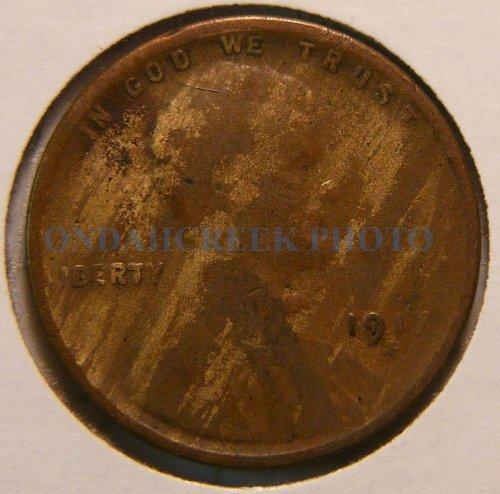 1917-S Lincoln Cent Good rim to rim lamination error