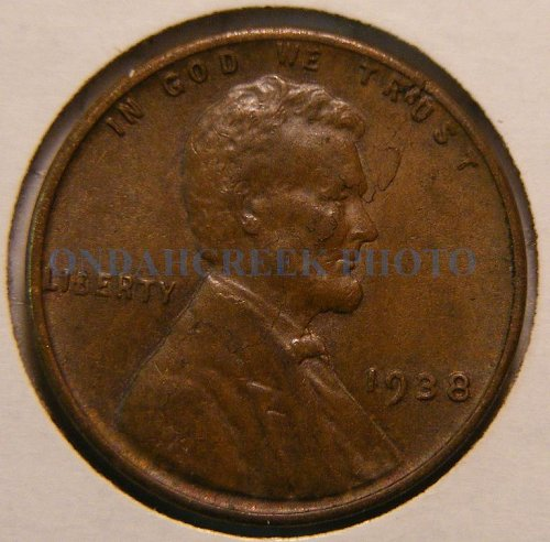 1938 Lincoln Cent AU Woody with lamination error