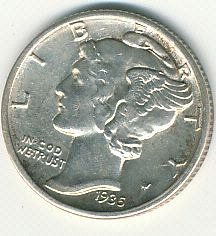 1935D MS60 full split bands Mercury dime
