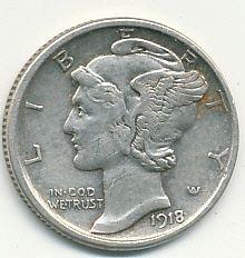 very nice 1918D Mercury dime