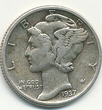 very nice 1937 Mercury dime