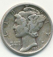 very nice 1937 Mercury dime