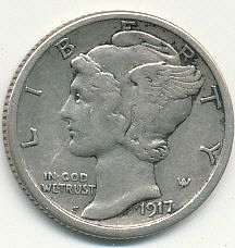 very nice 1917S Mercury dime