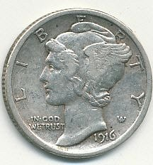 very nice 1916 Mercury dime