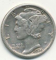 very nice 1926 Mercury dime