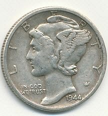 very nice 1944S Mercury dime