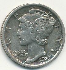 very nice 1923 Mercury dime
