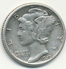 1927 Mercury dime